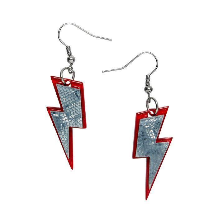 Erstwilder_Greased_Lightnin_Earrings_Grey_Black_Front